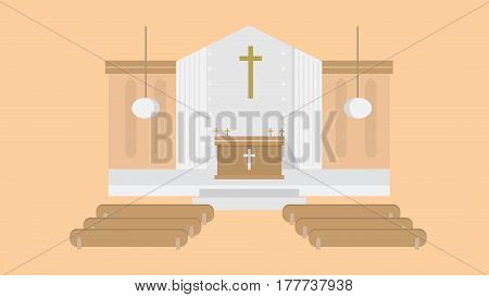 Church Vector Illustration | Conceptual background design vector | Use for building, architecture, construction, interior and much more. The set can be used for several purposes like: websites, print templates, presentation templates, and promotional mate