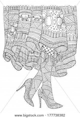 Vector hand drawn female feet in shoes with high heels and a long patterned skirt. Fashion illustration. Pattern for coloring book A4 size. Zentangle drawing.