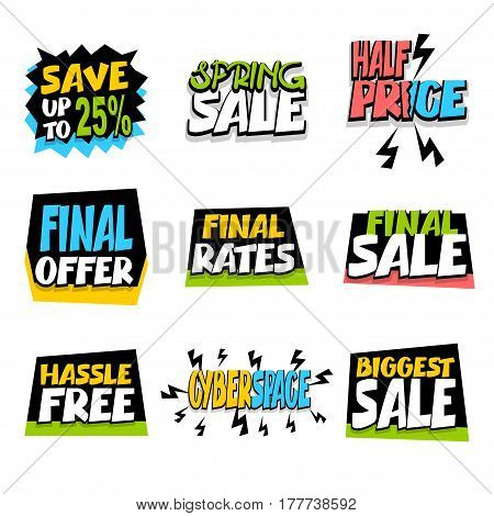 Percent sticker rates. Collection sale advertising web label badge. Vector illustration offer best price and discount. Special offer tag colored paper banner for print.
