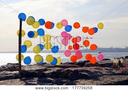 A Lot Of Colorful Air Balloons On The Embankment Of The Bosporus.