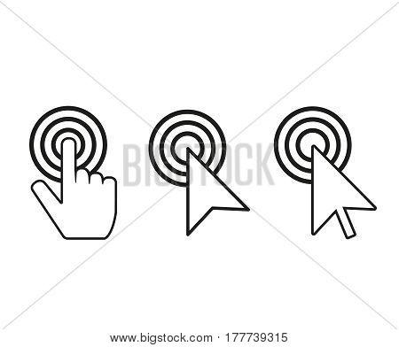 click cursor vector set. Finger and arrow mouse cursors