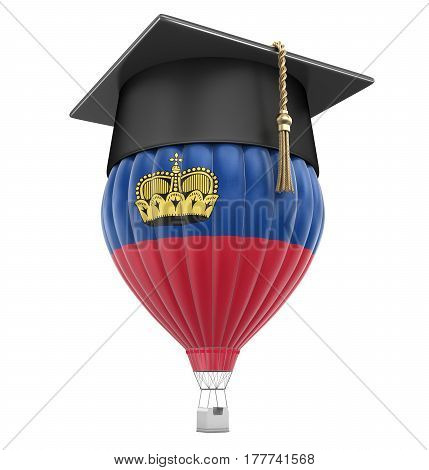 3D Illustration. Hot Air Balloon with flag of  Liechtenstein and Graduation cap. Image with clipping path