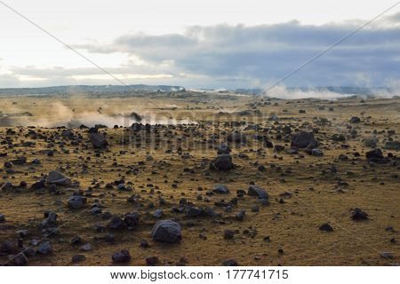 Toxic Fumes By The Crater Of A Volcano In Volcano National Park, Big Island Of Hawaii