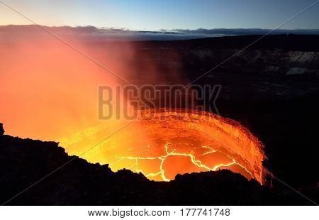 Inside View Of An Active Volcano With Lava Flow In Volcano National Park, Big Island Of Hawaii