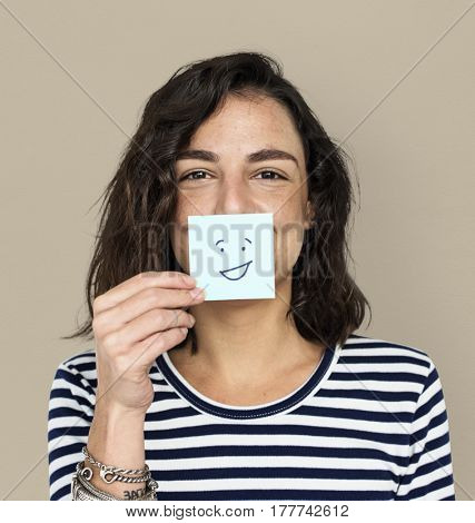 Woman Post It Smile Face Expression