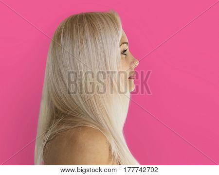 Adult Woman Serene Face Expression Side Gesture Studio Portrait