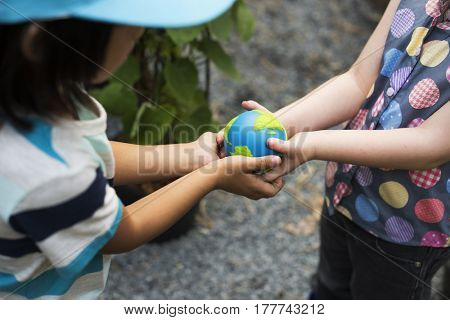 Ecology children sharing and support save the world