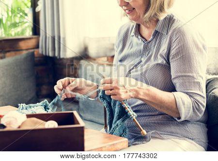 Knitting Leisure Hobby Activity Mature