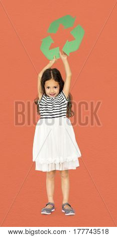 Little Girl Holding Recycle Symbol Studio Portrait