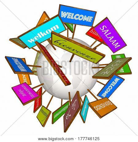 Welcome Around World Different Languages Cultures Signs 3d Illustration