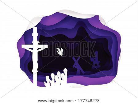 Lent. Jesus cross symbol of christ. Good friday. Passover. Religion Christ. Vector illustration.