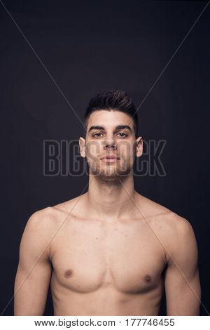 One Young Man Confident Upper Body Shirtless