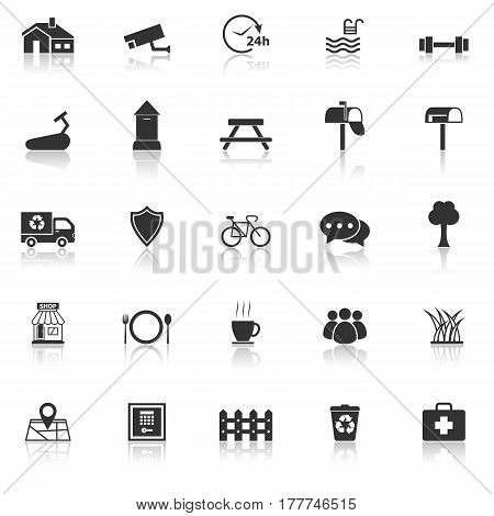 Village icons with reflect on white background, stock vector