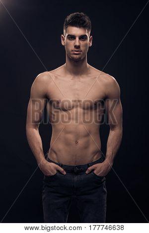 One Young Man Muscular Posing