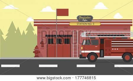 Firefighter Office Vector Illustration | Conceptual background design vector | Use for building, architecture, construction, interior and much more. The set can be used for several purposes like: websites, print templates, presentation templates, and prom