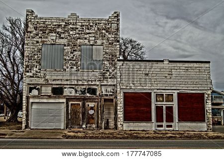 old building in Oklahoma small town on back road