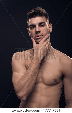 One Young Man, Handsome, Looking At Camera, Shirtless Hand Face