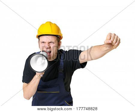 Protesting young man shouting into megaphone on light background