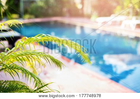 Beautiful Swimming Pool Tropical Resort Blured