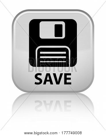 Save (floppy Disk Icon) Special White Square Button