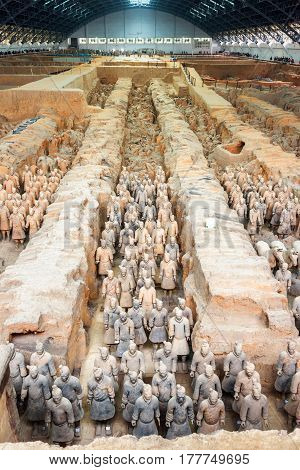 Ranks Of Terracotta Soldiers Of The Famous Terracotta Army