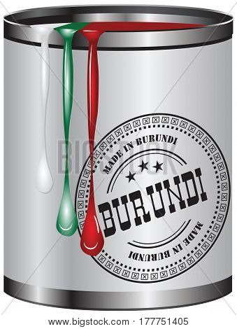 Container with a paint corresponding to the flag of Burundi. On the container stamp Made in Burundi.