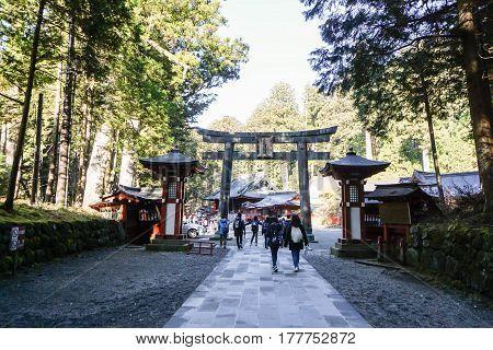 people go to the shrine in World Heritage zone in Nikko taken on 3 December 2016