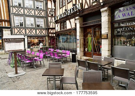 Rouen France - november 26 2016 : restaurant in the historical city center in winter