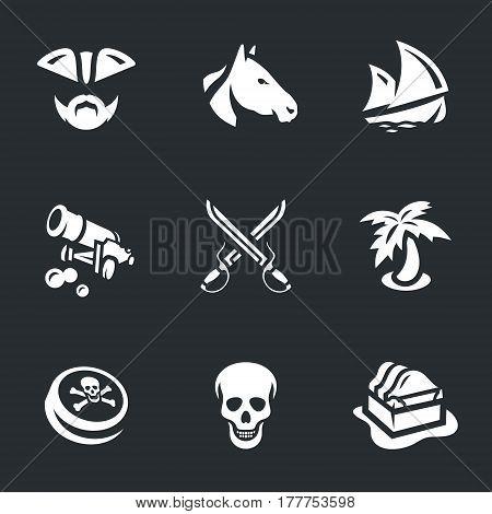 Pirate, horse, ship, gun, saber, palm, black mark, skull, chest.