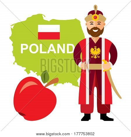 Polish nobleman in the national costume with a sword. Isolated on a white background