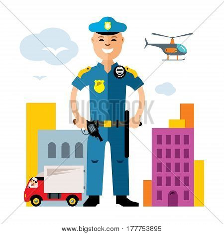 Concept policeman at work. Isolated on a white background