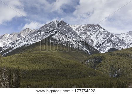 The Rocky Mountains in a winter landscape