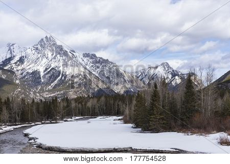 The Rocky Mountains in a winter landscape.