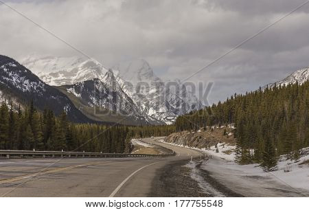 The Rocky Mountains in a winter scene
