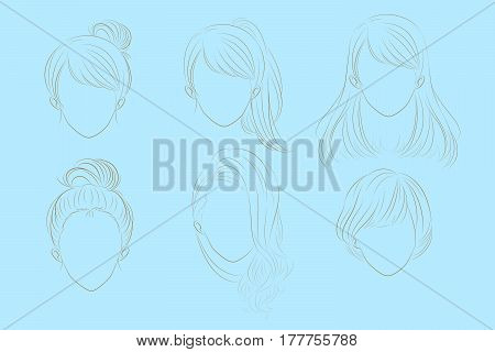 cute cartoon woman has different hair style