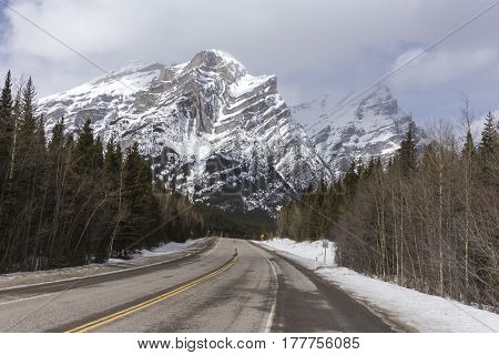 The Rocky Mountains on a winter day