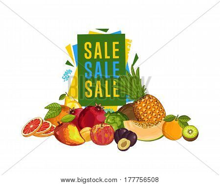 Discount sale poster with fresh fruit vector illustration. Natural product shop, juicy fruit promo, vegetarian nutrition offer, organic healthy food retail. Pear, lime, melon, avocado, banana, peach