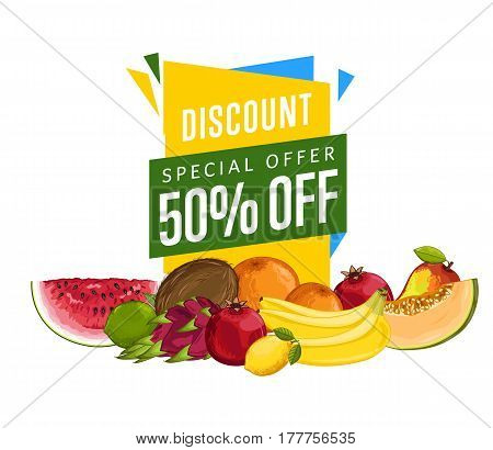 Discount sale poster with fresh fruit vector illustration. Natural product shop, juicy fruit promo, vegetarian nutrition offer, organic healthy food retail. Coconut, watermelon, orange, pomegranate