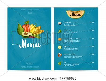 Vegetarian restaurant food menu design vector illustration. Vegan cafe menu, price catalog of vegetarian nutrition, organic food shop, healthy diet retail. Menu card template with vegetable elements