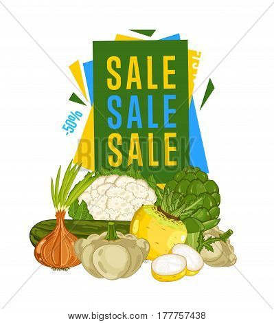 Discount sale poster with fresh vegetable vector illustration. Natural product shop, locally grown, vegetarian nutrition offer, organic healthy food retail poster with radish, broccoli, onion, patison