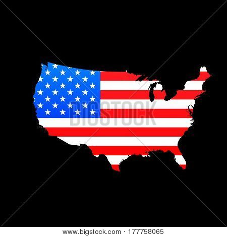 Map of USA with American flag texture