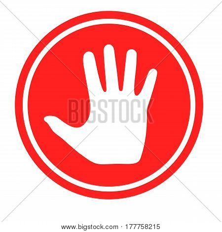 Stop sign with human hand. Warning symbol, hazardous icon