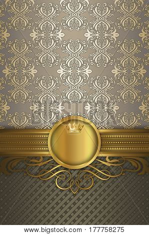 Vintage background with decorative golden borderframe and old-fashioned patterns.