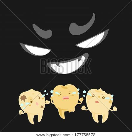 cartoon tooth with decay problem feel fear in the dark