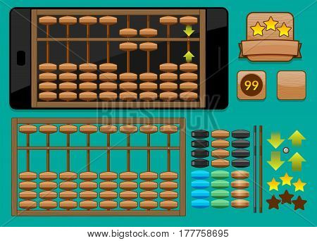 Abacus Template for mobile phone for games or for training application