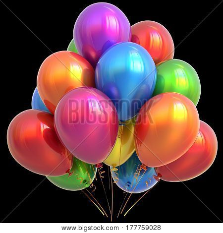 Party balloons happy birthday decoration colorful multicolored glossy.  3D illustration isolated on black