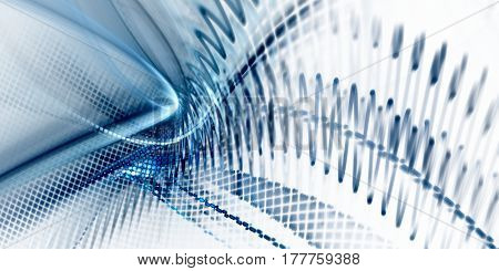 Abstract background element. Fractal graphics. Dynamic composition of curves, blurs and halftone effect. White and blue colors.