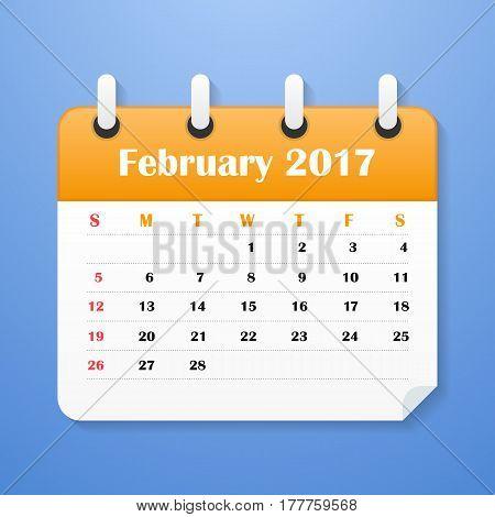 European Calendar for February 2017. Week starts on Monday. Vector illustration