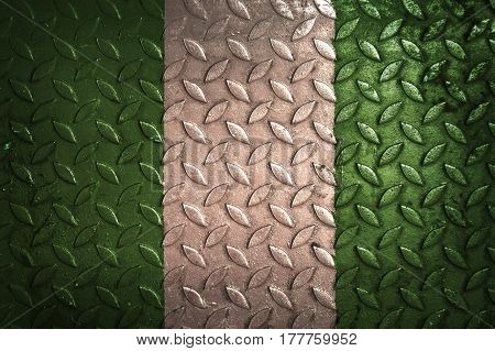 Nigeria flag , metal texture , Nigeria flag
