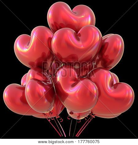 Red party heart balloons happy birthday love event decoration glossy. 3D illustration isolated on black